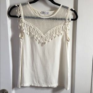 Zara white top with fringe